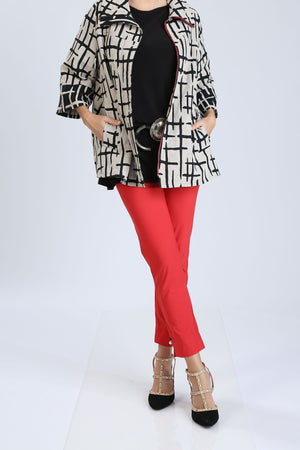 Plus Size Zip-Front Striped Jacket