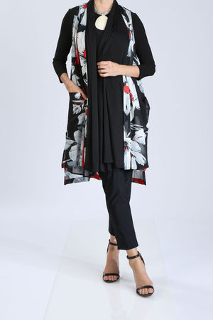 Plus Size Long Floral Vest