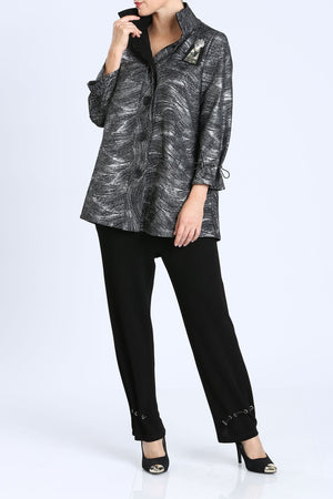 Plus Size Silver Button Front Print Jacket