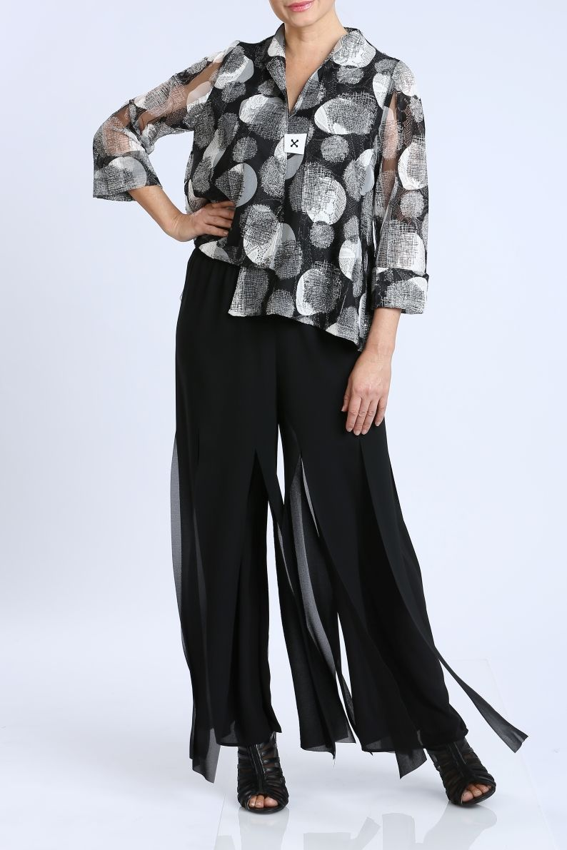 Plus Size Sheer Sleeves Print Jacket