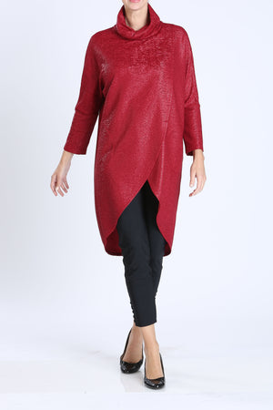 Twist Turtleneck Overlap Long Top