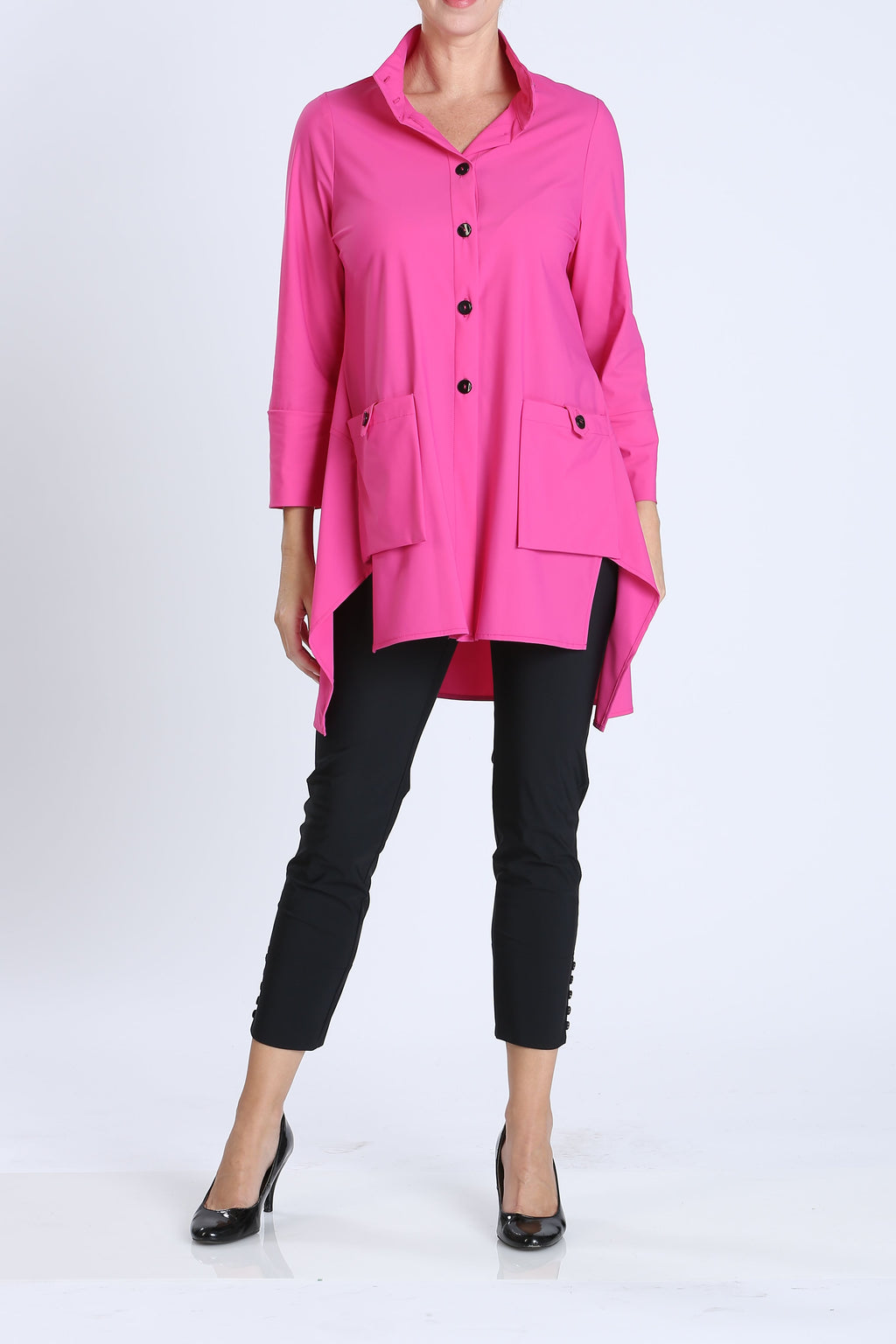 Pink Button-Front Collar Jacket