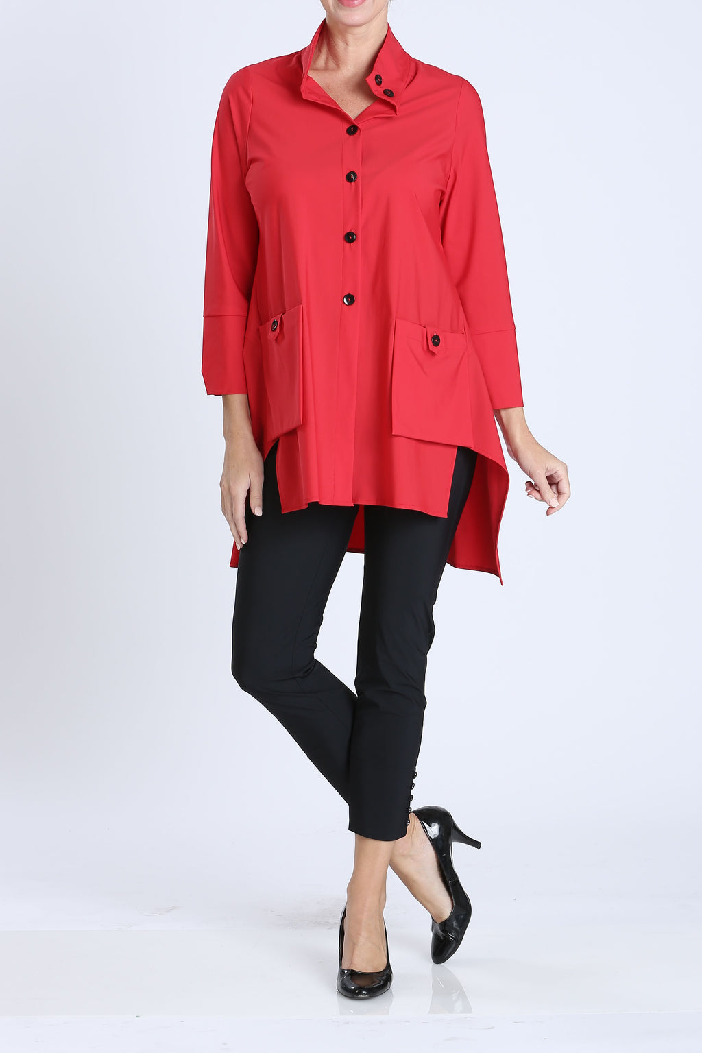 Red Button-Front Collar Jacket