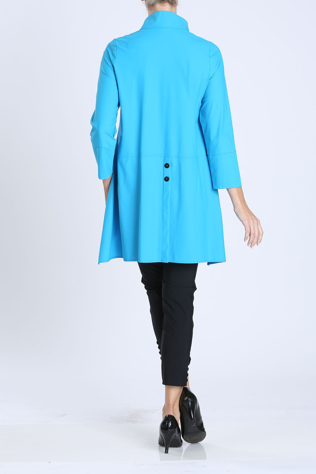Turquoise Button-Front Collar Jacket