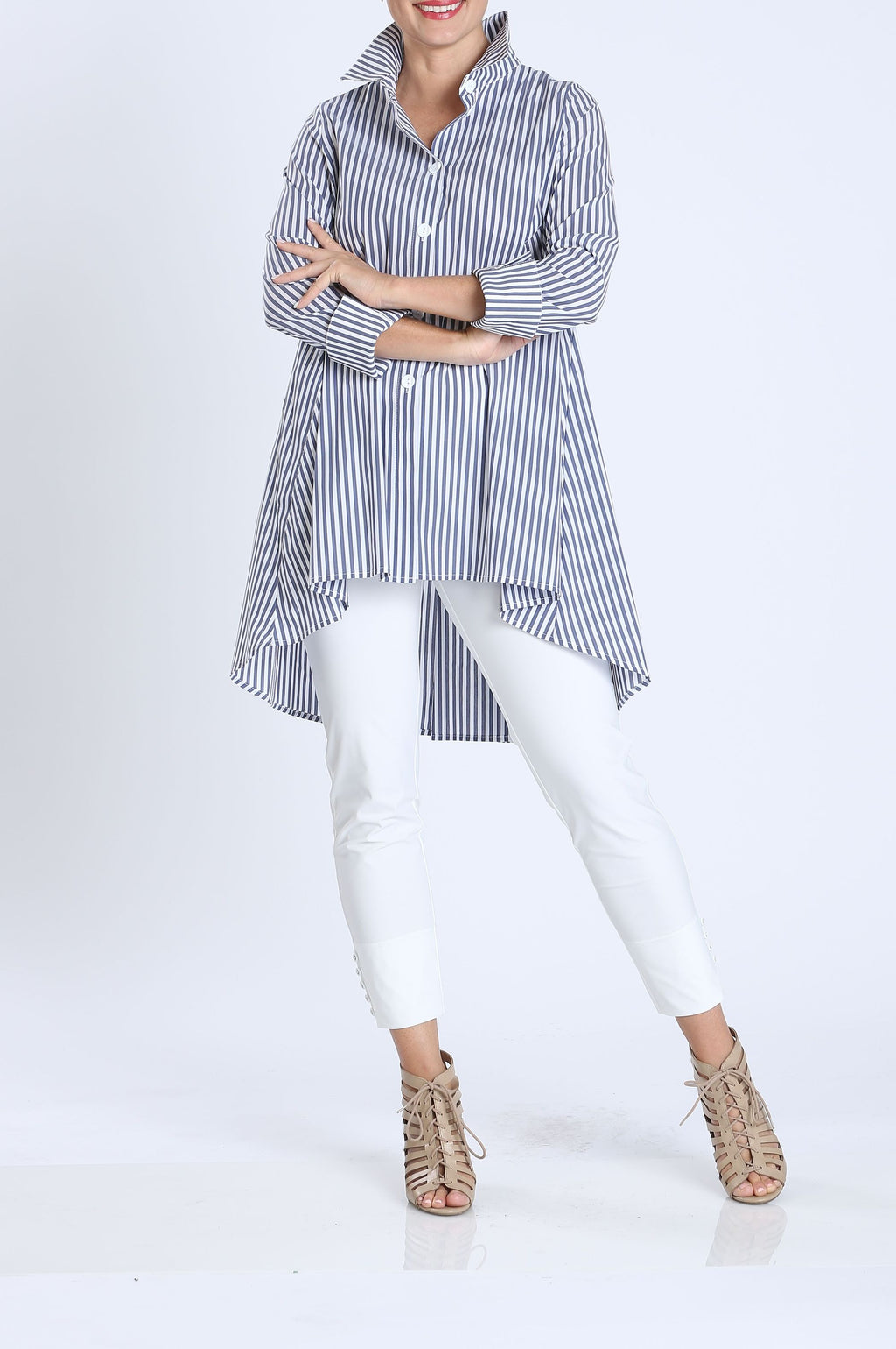 Plus Size Back Zipper Striped Blouse