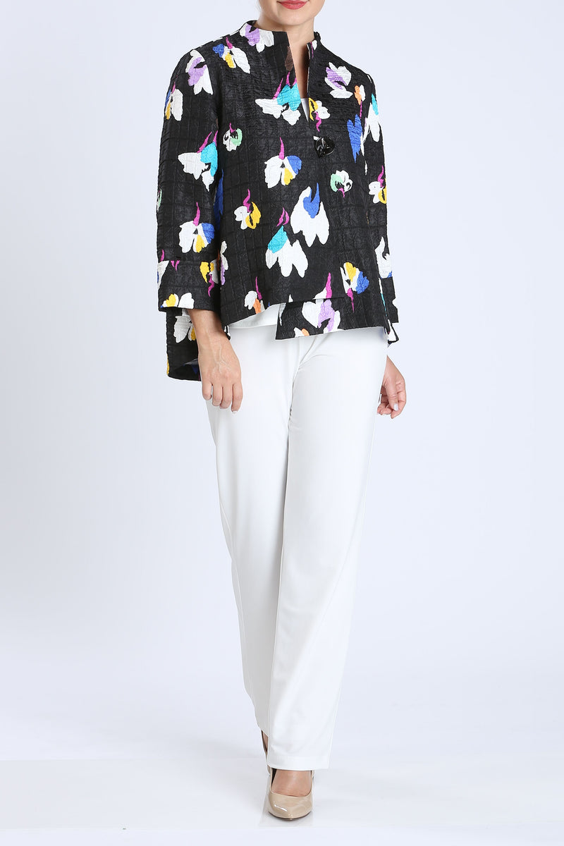 Blue Floral One Button Front Jacket