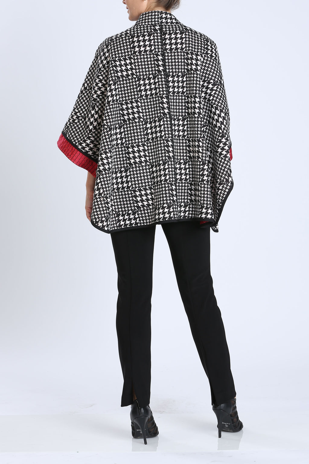 Plus Size Two Side Check Zipper Poncho