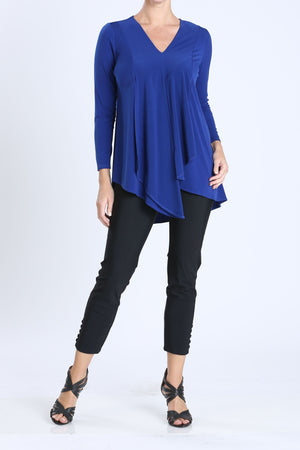 Blue Plus Size V-Neck Asymmetrical Tunic