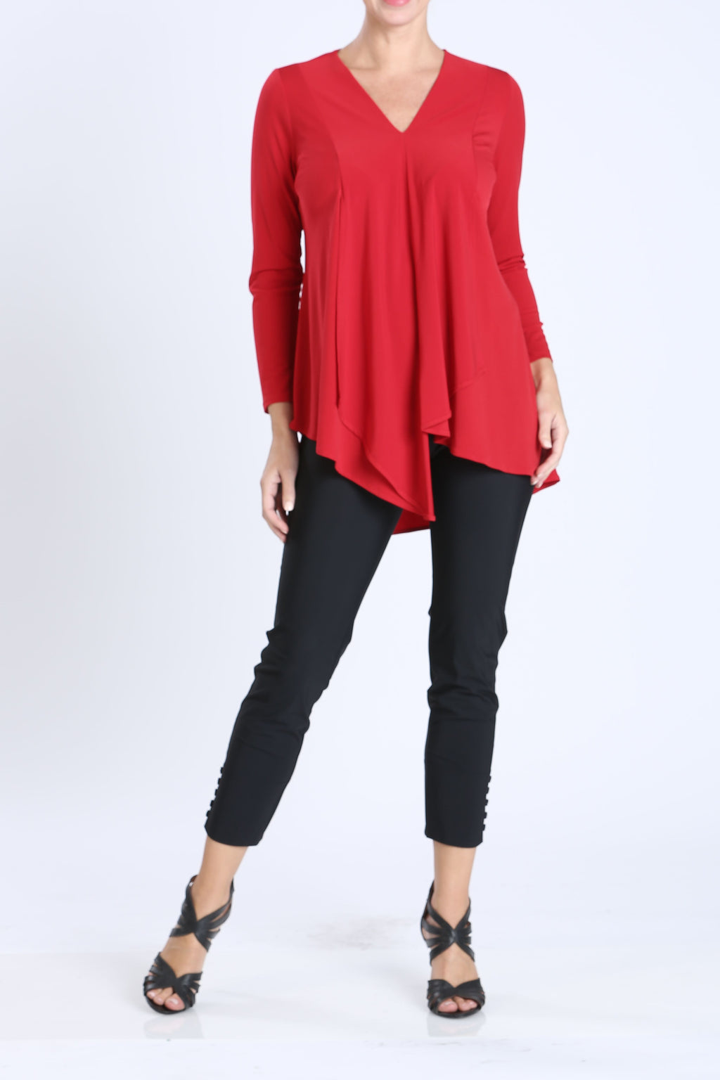 Red Plus Size V-Neck Asymmetrical Tunic