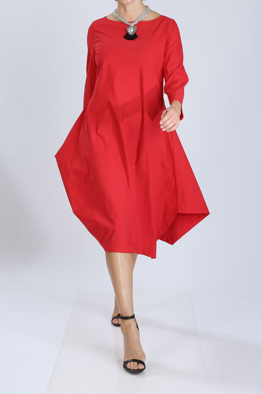Plus Size Boat-Neck Asymmetrical Dress