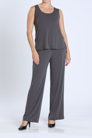 Plus Size Charcoal Wide Leg Long Pants & Scoop Neck Tank Top