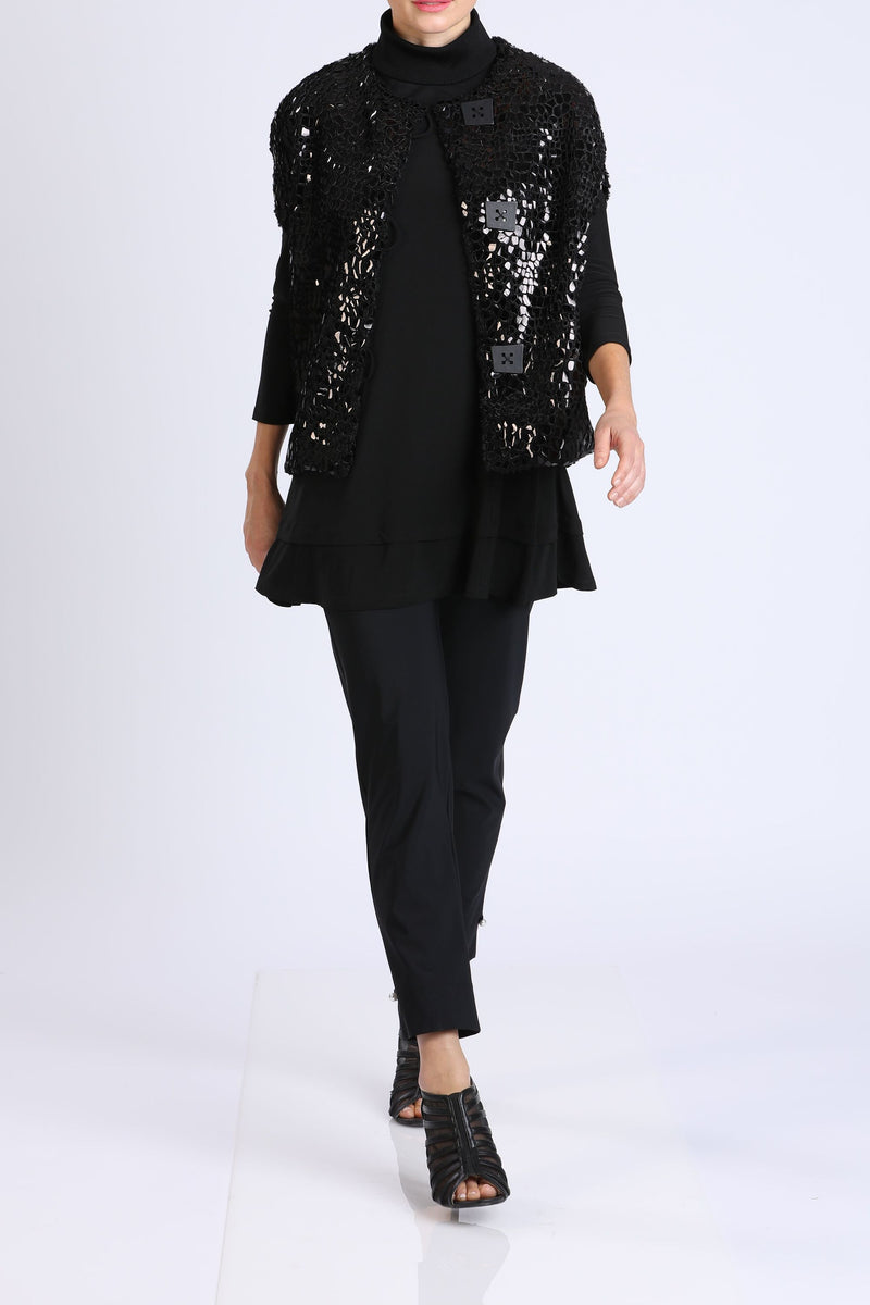 Button-Front Shimmer Jacket