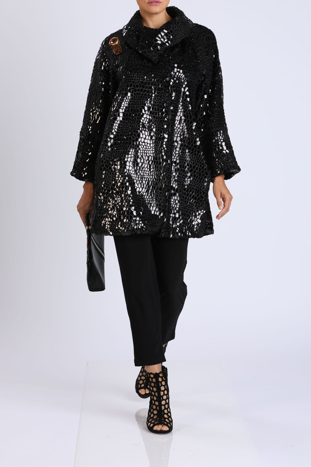 High-Neck Long Sleeve Shimmer Jacket