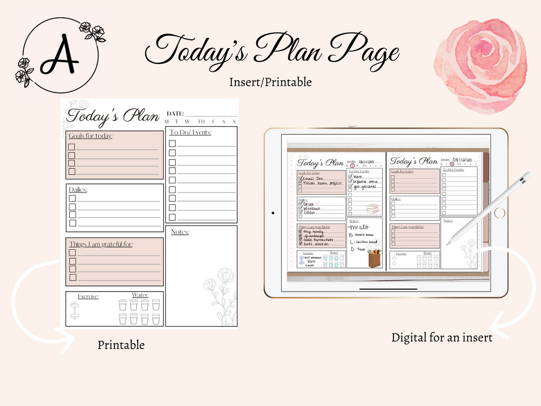 Today's Plan Insert/Printable