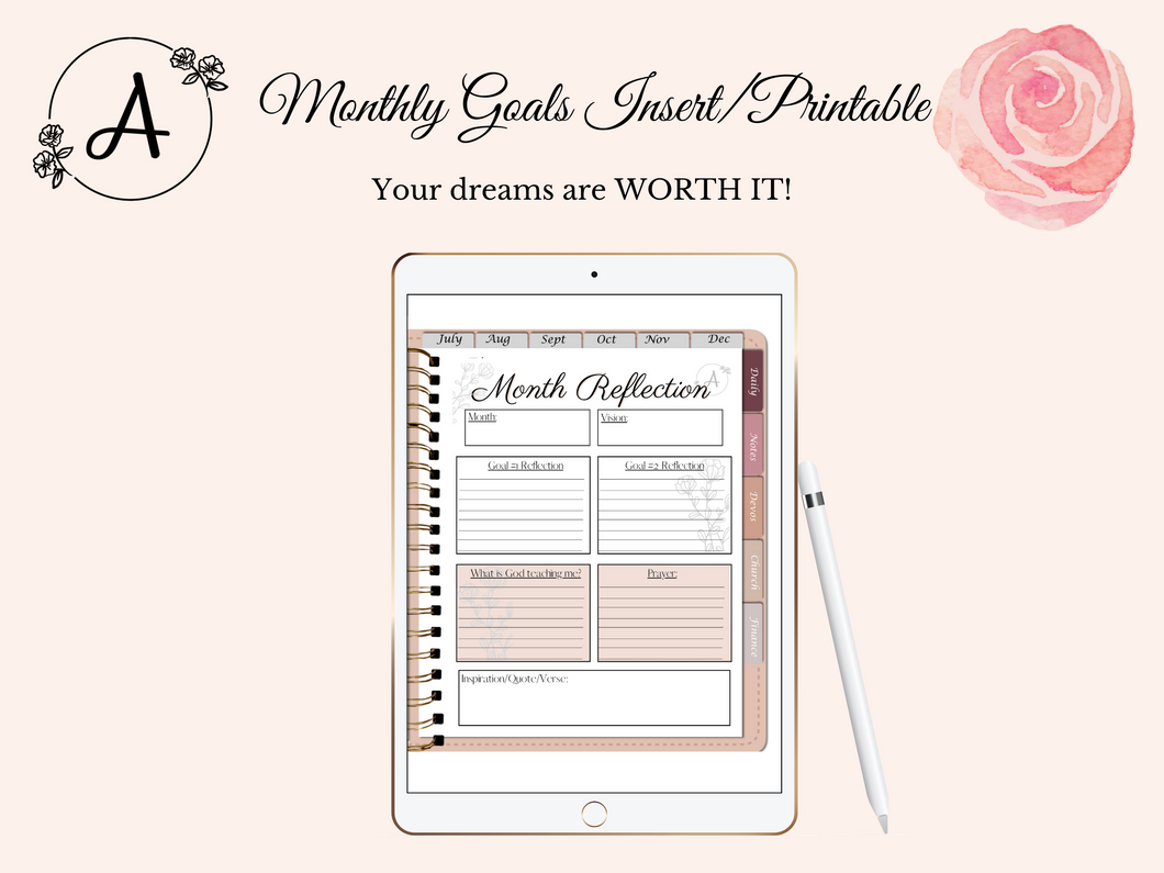 Monthly Goal Reflection Insert/Printable