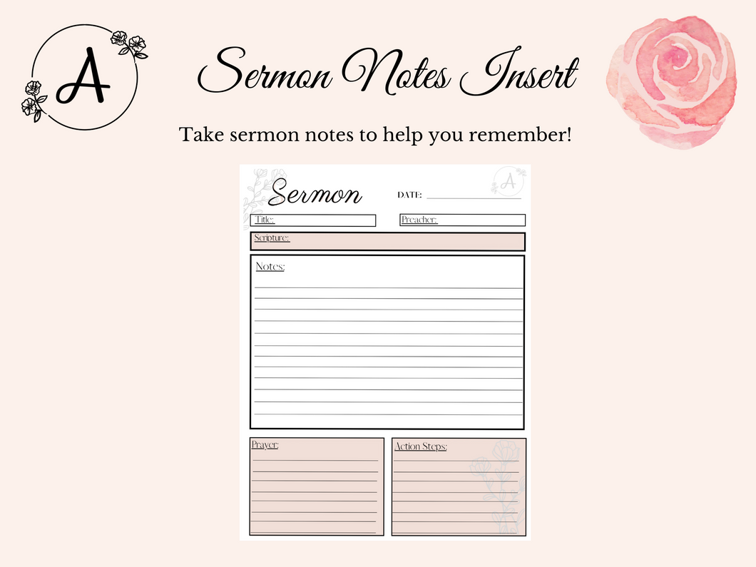 Sermon Notes Digital Insert/Printable