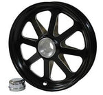10X2, 8 Star Spindle Mount Wheel for 5/8, Black