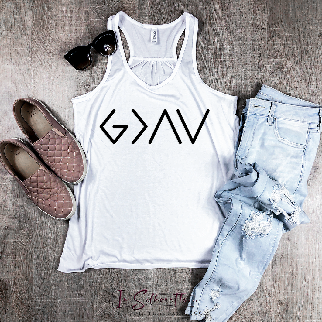 God is Greater than the Highs and the Lows (Simple) - Ladies Razorback Tank