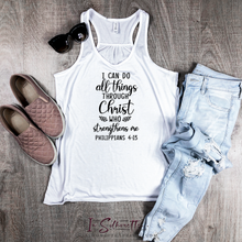 Load image into Gallery viewer, I can do all things through Christ who strengthens me - Ladies Razorback Tank