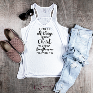I can do all things through Christ who strengthens me - Ladies Razorback Tank
