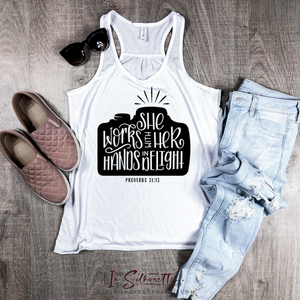 She works with her hands in Delight - Ladies Razorback Tank