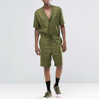 Mens Vintage Drawstring Cargo Rompers Overalls Short Sleeve Jumpsuits