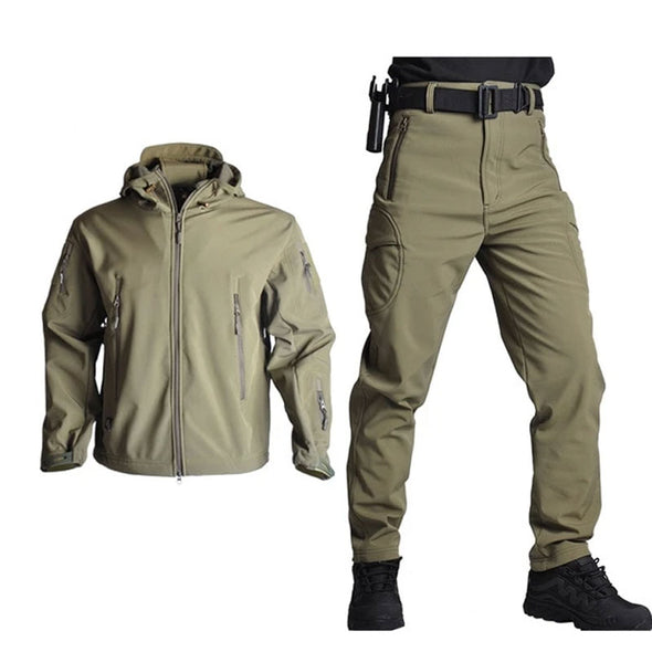Jackets Men Soft Shell Hunting Jacket Suit Sets