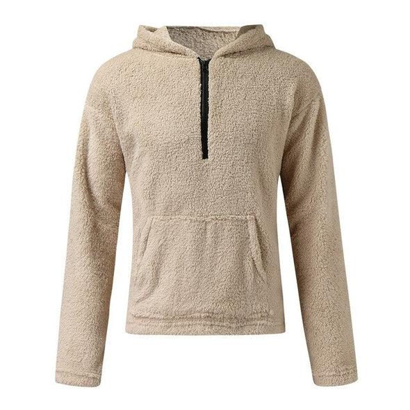 Zipper Collar Pullover Polar Fleece Mens Hoodies