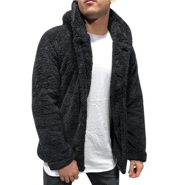 Bomber Jacket Men Winter Thick Warm Fleece Teddy Coat