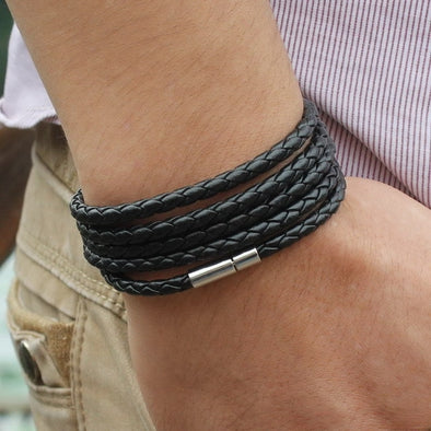 black retro Wrap Long leather bracelet men bangles fashion