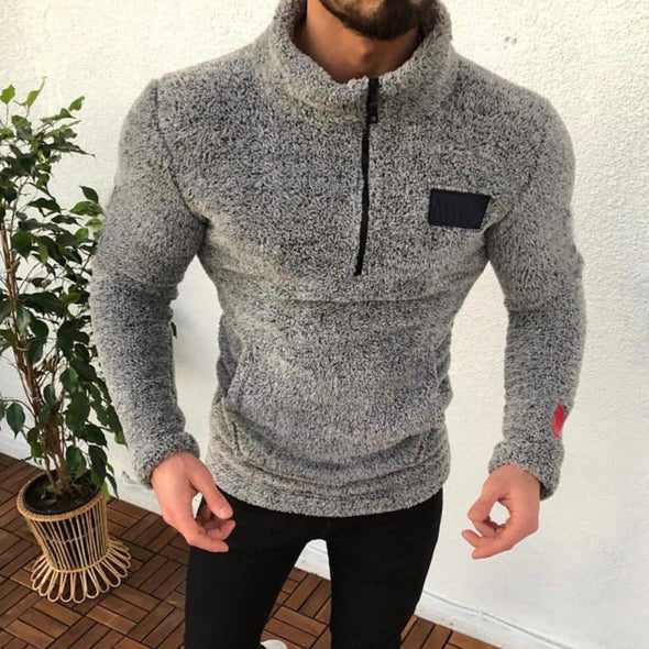 Men Warm Plush Sweatshirt Long Sleeve Fleece Pullover Winter