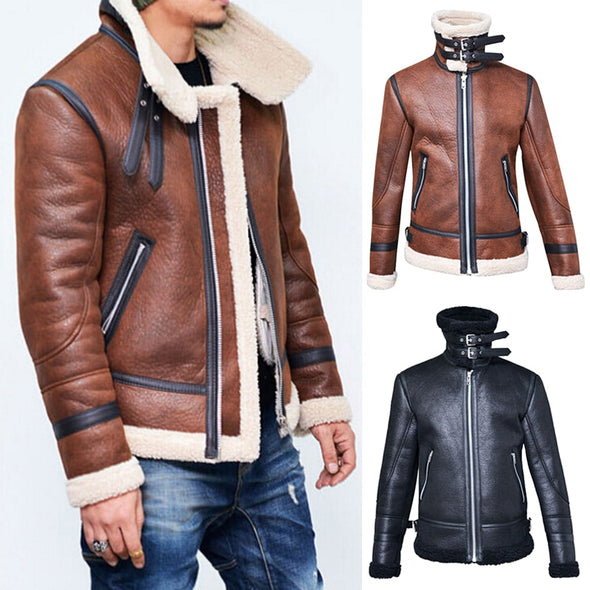 Winter Men Leather Fur Coat Jacket Slim Faux Leather Motorcycle