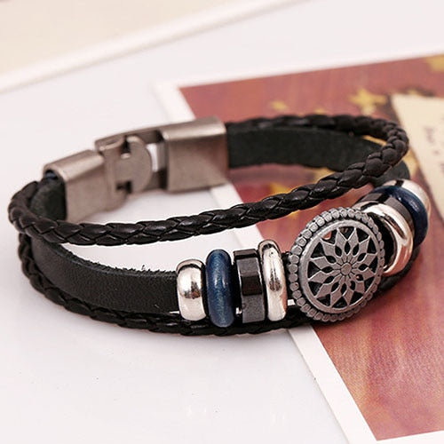Men Bracelets Ethnic Multilayer Braided Leather Hollow Flower