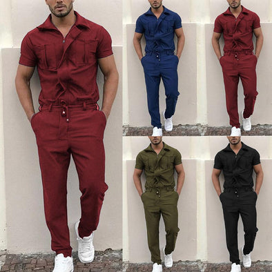 Men Stylish Short Sleeve Pockets Drawstring Zip Jumpsuit Coverall