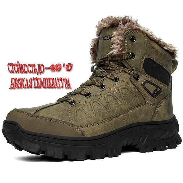 Leather Boots Warm Snow Boots Casual Outdoor Waterproof