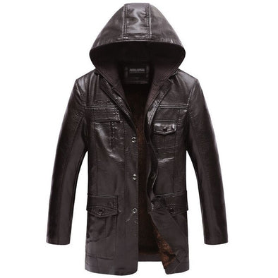 Winter Warm Leather Jacket Detachable Hood Fleece PU Jacket