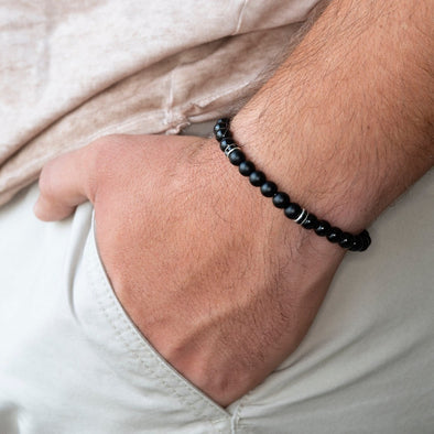 Fashion bracelet men Simple 6mm Stone Bead Bracelets Classic