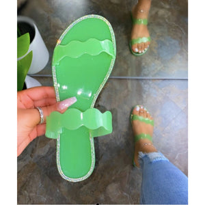 Diamond Jelly Sandals- Green