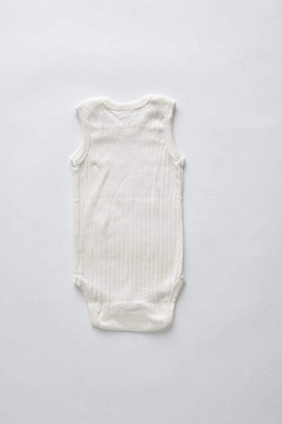 pointelle singlet bodysuit-  natural