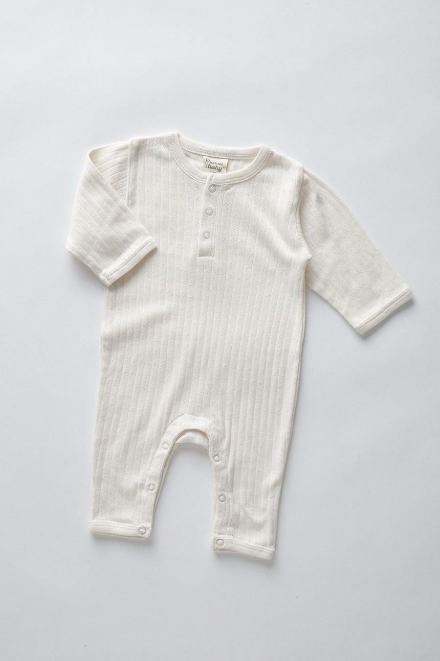pointelle henley pyjama suit-  natural