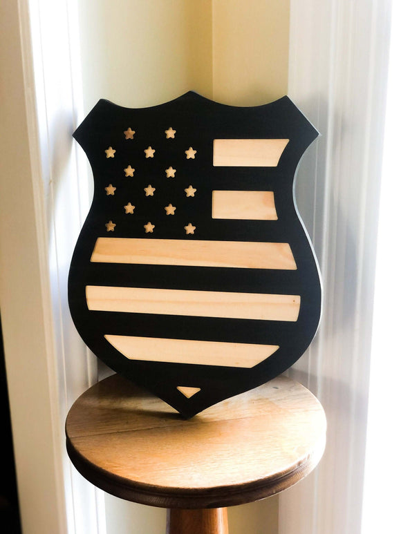 Police Shield Carved Wood Sign