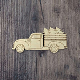 Vintage Truck with Trees | Laser Wood Cutout