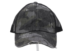 CC Washed Denim Criss Cross High Pony Ball Cap