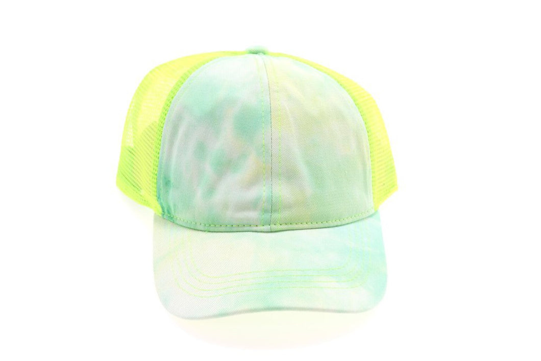 CC Tie Dye High Ponytail Mesh Back Ball Cap