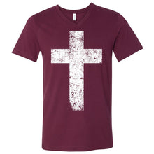 Load image into Gallery viewer, Cross - Unisex V-Neck Tee with White Print