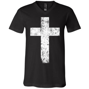 Cross - Unisex V-Neck Tee with White Print