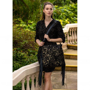 2565 Myra Black Shimmer Leather and Hairon Bag