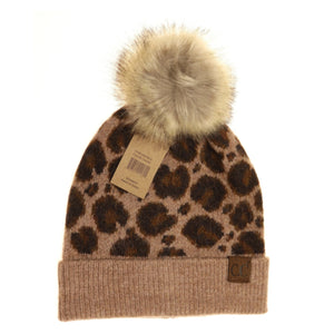 CC Beanie Leopard Pattern with Faux Fur Pom