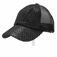 Load image into Gallery viewer, CC Glittered Net Criss-Cross High Ponytail Ball Cap