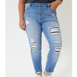 Plus Kancan Leopard Patch High Rise Skinny Jeans